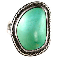 Navajo Seafoam Green Turquoise Ring Sterling Silver