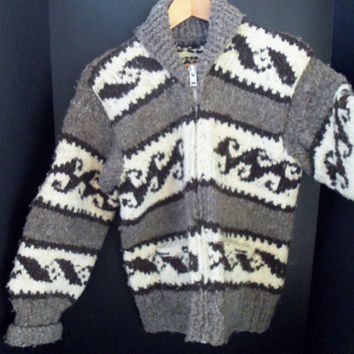 Vintage Cowichan Sweater Truly Authentic Cowichan Indian Sweater 100% Handspun Wool from British Columbia
