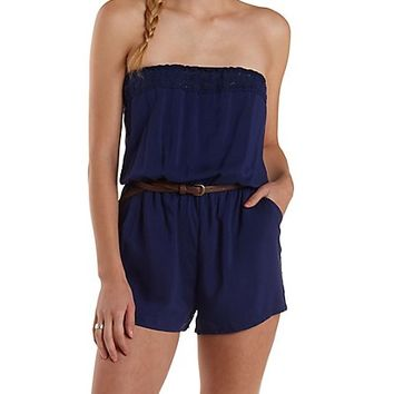 CROCHET-TRIM STRAPLESS ROMPER