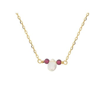 18k Gold Pl Silver Briolette Rutilated Quartz & Mini Garnet Necklace, 16""
