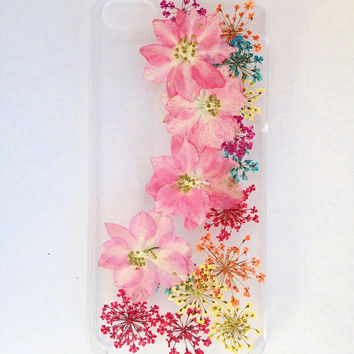 Handmade Real  Natural Pressed Flowers iphone 6 6 plus case iphone 4s 5 5s 5c case Samsung case fashion cellphone colorful pink