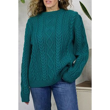 Vintage Handmade Teal Cable Knit Sweater