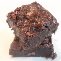 Ugly Salted Caramel Brownies - Sticky Chewy Chocolate Fudge Caramel Cookie Bars - eight big brownies