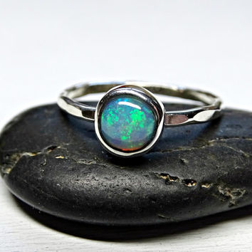 welo opal promise ring silver, delicate opal ring, hammered silver ring opal unique engagement ring October birthstone opal anniversary gift
