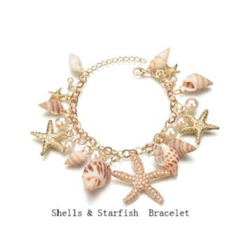 "7.50"" - 9"" sea life shell charm starfish anchor nautilcal bracelet"