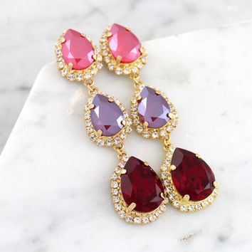 Red Chandelier Earrings, Ruby Bridal Earrings, Swarovski Ruby Red Chandeliers, Bridal Ruby Statement Earrings, Long Red Ruby Earrings