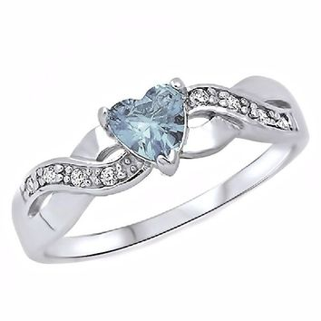Palesa: Heart-cut Simulated Aquamarine and IOF CZ Infinity Promise Ring 925 Silver, 3266A sz 8.0