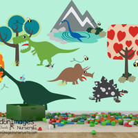 Silly dinosuar wall decal, nursery decals, nursery wall decal, nursery decor, boys room decor, kids wall decal, dinosaur decor, dino decal