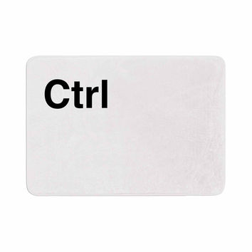 "Jackie Rose ""Ctrl"" Black White Memory Foam Bath Mat"