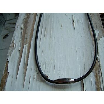 Black Leather Necklace, Leather Necklace, Mens Necklace, Magnetic Clasp, Stainless Steel, Mens Jewelry, Leather Jewelry, Mens Gift,