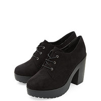 Black Chunky Lace Up Platform Shoe Boots