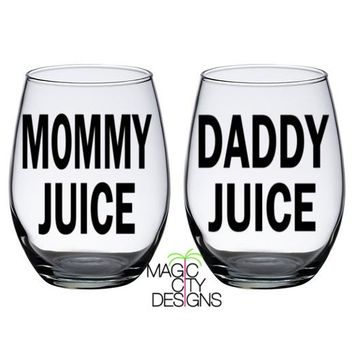 SET OF 2 Mommy Juice and Daddy Juice BLACK Stemless Glasses 21 OZ