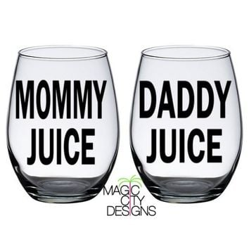 SET OF 2 Mommy Juice and Daddy Juice BLACK Stemless Wine Glasses - BLACK 21 OZ STEMLESS WINE GLASSES
