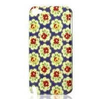 Hard Plastic Beige Flower IMD Back Case Shell for iPod Touch 5G