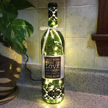 This Home Runs on Love Laughter and Really Good Wine,wine bottle lamp, kitchen decor, accent lamp, gift for wine lover, housewarming gift