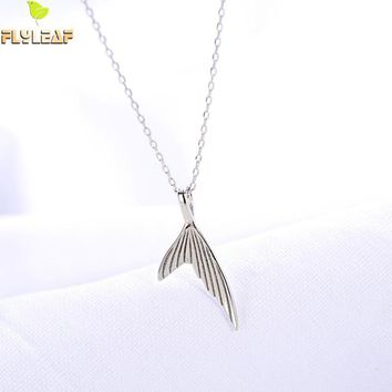 Flyleaf 100% 925 Sterling Silver Mermaid Tail Necklaces & Pendants For Women Minimalism Lady Lady Fashion Jewelry