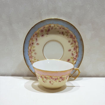 M Redon Limoges, M R France, Antique Limoges Teacup, Limoges Teacup and Saucer, Vintage Limoges, Limoges France, Hand Gilded Cup, Gold Rim
