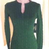 NEW Authentic Lauren Green Cable Knit Sweater by Ralph Lauren (Size Petite XS)