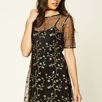 Contemporary Floral Mesh Dress