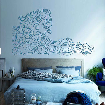 wave Wall Decals Ocean Wave Wall Decals Ocean beach Waves Wall Stickers Ocean Wall Decals sea Wall Decal Stickers for Bedrooms kik3424