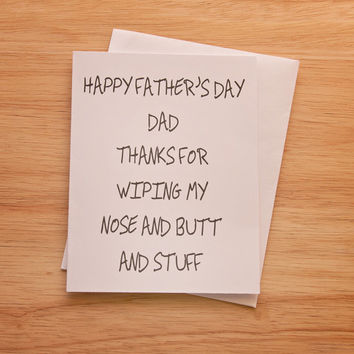 Father's Day Card, Card For Dad, Funny Card, Thank You Dad, Card For Father, Quirky Card, Adult Humor, Butt Wipe