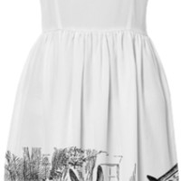 Vintage Alice in Wonderland tea party with the Mad Hatter and the White Rabbit black and white drawing emo goth summer sun dress created by iGalaxy | Print All Over Me