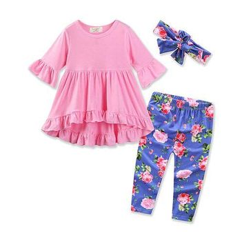 3pcs Toddler Infant Girls Ruffled Outfits Headband+Tops+Floral Pants Kids Clothes Set Summer clothes outfits