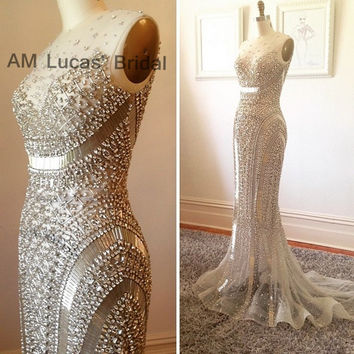 2017 Mermaid Evening Dresses Beaded Rhinestones Tulle Wedding Party Formal Gowns Robe De Soiree Vestido Longo De Festa