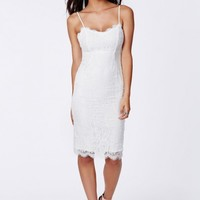 Missguided - Pandora Lace Eyelash Midi Dress White