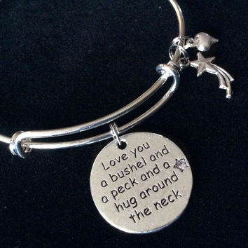 Love You a Bushel and a Peck and a Hug Around the Neck Charm Silver Expandable Adjustable Bangle Bracelet Gift