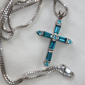 Sterling Silver Cross, Blue Topaz Pendant, Cross Pendant Necklace, Sterling Silver Pendant, Topaz Cross Pendant, 1960s Jewelry