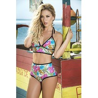Mapale Floral Retro Style Mid-Drift Triangle Top and High Waist Bottom Swimwear Bikini