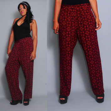 SALE Vintage 1990s Rayon black red  PAISLEY  High waist grunge festival baggy trouser harem sweat pants