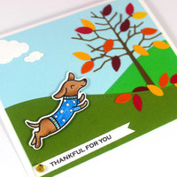Thankful for you - Thanksgiving card - Dachshund Dog - Autumn Card  - Fall Card