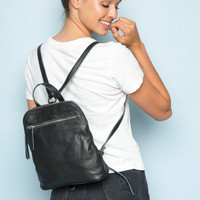 Leather Zip Backpack - Bags & Backpacks - Accessories
