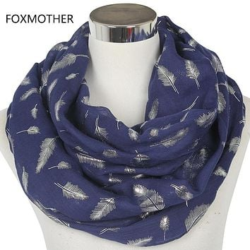 Women Silver Feather Printed Infinity Scarf