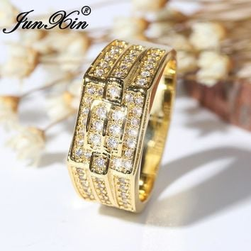 JUNXIN Male Gold Color Geometric Big Ring Luxury Cubic Zirconia Finger Ring Fashion Wedding Rings For Men Birthstone Jewelry