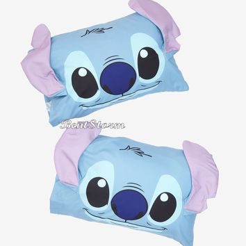 Licensed cool Disney Lilo & Stitch Experiment 626 3D Ears Super Soft 2 Pack Pillowcase Set NIP