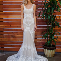 Cecilia Lace Bohemian Wedding Dress | Cotton Lace with OPEN BACK and SILK liner | Handmade |  Boho Romantic Rustic Wedding Dress