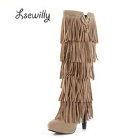 Lsewilly New Flock Winter Women boots High heels over the Knee high bota shoes Fringe Tassels Fashion long boots woman AA255