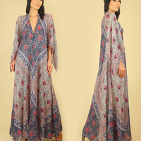 ViNtAgE 70's ADINI SULTANA Indian Cotton Maxi Dress RARE // Angelwing Caftan Floral India 70's Bohemian Maxi Hippie BoHo Festival One size