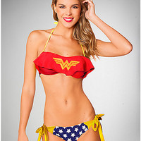 Wonder Woman Bandeau Ruffle Bikini - Spencer's