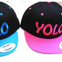 Vintage YOLO (You Only Live Once) Snapback Hat Flat Bill Cap
