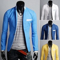 Single Button Slim Fit Blazers