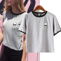 Alien Popular Fashionable Cotton Slim Pullover Round Necked Short Sleeve Shirt Top T-shirt b2353