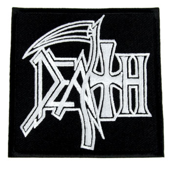 Death White Patch Reaper Scythe Heavy Metal Iron on Applique