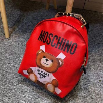 MOSCHINO Fashion Women Casual School Bag Cowhide Print Leather Zipper Backpack Red I