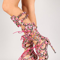 Eva-Xmf-1 Floral Lace Up Open Toe Knee High Heel