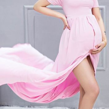 Pink Draped Slit Backless Off Shoulder Short Sleeve Maternity Dress