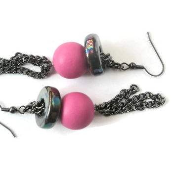 Dangle Earrings Black and Pink chain long jewellery Every day wear wooden beads